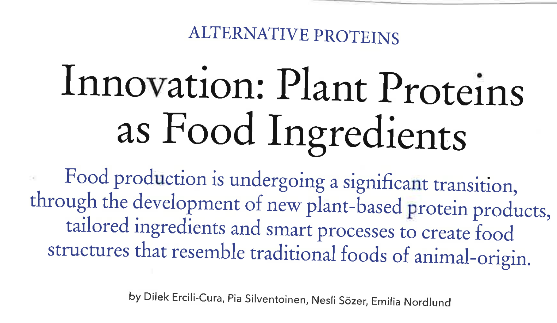 Aug 2018 – Innovation: Plant Proteins As Food Ingredients – The World Of Food Ingredients (March 2018)